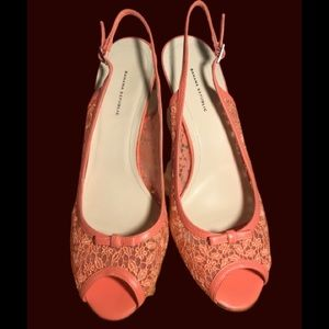 Banana Republic Peep Toe Salmon Heels Size 10